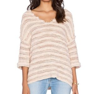 Free People Spells Trouble Natural Striped Sweater